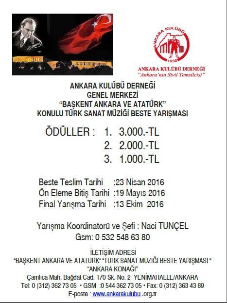 Başkent Ankara ve Atatürk konulu Beste Yarışması