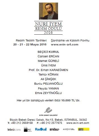 Nuri İyem Resim ödülü 2016 koşullar