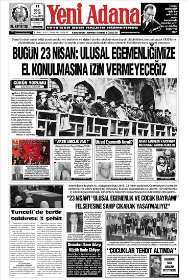 Adana gazetesi 23 nisan