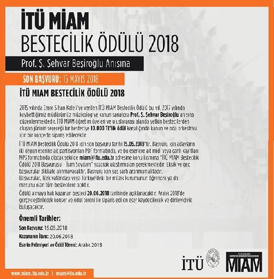 Prof. S.Şehvar Beşiroğlu Anısına İTÜ MIAM Bestecilik Ödülu 2018